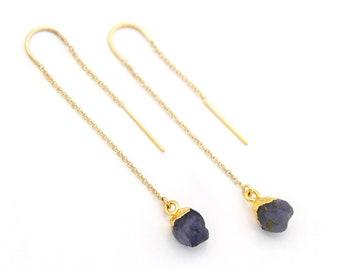Raw Iolite Earrings, Water Sapphire Threaders, Stone Thread Through Earrings, Raw Crystal Threaders, Natural Gemstone Earrings, Blue Stone