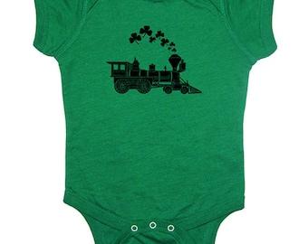 St Patricks Day Shamrock Train Engine Baby Shirt Clover Baby One Piece Bodysuit Infant TShirt Tee Sizes 0-6 mo, 6-12 mo, 12-18 mo, 18-24 mo
