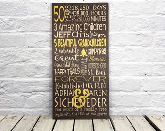 50 Year Anniversary Gift, 50th Anniversary Gift Ideas, Golden Anniversary, 50th Wedding, Anniversary Gifts, Gift for Parents, Gift for Her