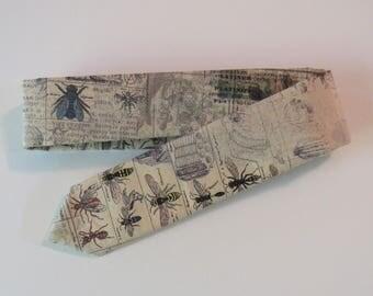 Insect Cotton Necktie, Silk // Antiqued Collage, Script, Garden