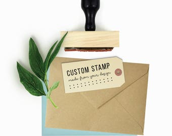 "Custom 1.25"" x 2.5"" Rubber Stamp - Your Logo, Drawing or Design - Wood Mounted and Top-Engraved w/Handle Rubber Stamp by Creatiate"