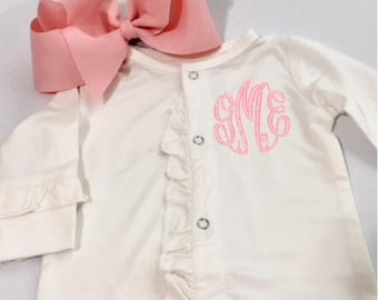 Baby Girl Monogrammed Outfit - Coming Home Outfit - ruffled footie - bamboo soft fabric -Hair Bow Headband