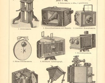 1896 Vintage Photo Cameras, Photo Apparates Original Antique Engraving to Frame
