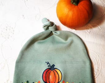 Pumpkin Baby Hat Organic Cotton, Handpainted, Fun Baby Hat, Unique Baby Gift, Baby Clothes for Girl