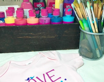 LOVE is love Hand Painted Organic Cotton Baby Clothes, pink bodysuit, unique baby clothes/ baby girl pink