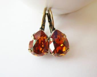Bridesmaid Earrings, Copper Earrings, Swarovski Earrings, Leverback, Antique Brass, Gifts for her, Bridesmaid Jewelry, Teardrop Earrings