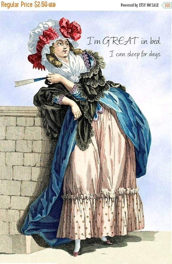 Marie Antoinette Card ~ I'm Great in Bed! ~ Funny Postcard ~ Funny Card ~ Pretty Girl Postcards ~ Funny Birthday Card ~ Greeting Card