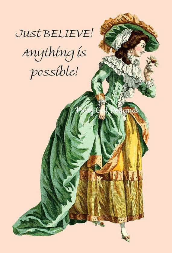 """Just Believe! Anything Is Possible! ~ Marie Antoinette Funny 4"""" x 6"""" Postcards ~ Free Shipping in USA"""