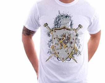 Mens T Shirt , Shield Knights T Shirt , Gift For Him , Unisex T Shirt , Mens Clothing , Graphic T-shirt , Gift for Dads , American Apparel