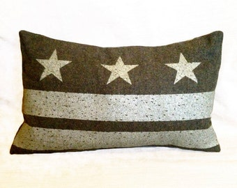 Washington DC Flag Pillow Cover from Military Blanket - Olive Green