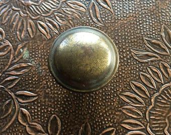 Antiqued Brass Knob Vintage Round Pull Hardware - #A2737