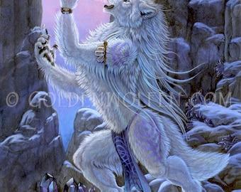 Anthro White Wolf Werewolf With Crystals Print