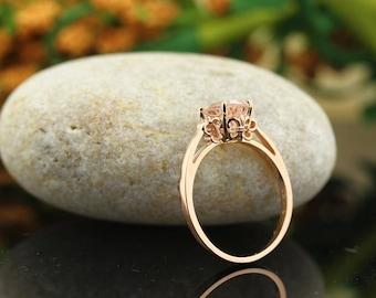 Natural AAA  Pink Morganite   Fleur-de-Lis Ring  ,Solitaire Gold engagement  Ring In 14K Rose  - Gem1305