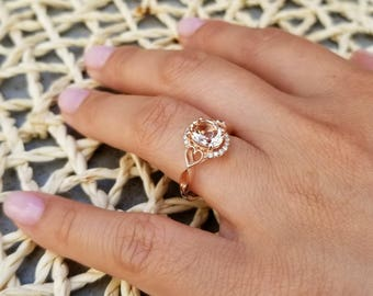 Morganite Engagement Ring Diamond Halo  Ring In 14k White / Rose Gold Gem1336  ***ON Promotion***