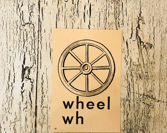 Vintage Alphabet Flash Card - Letter Wh for Wheel - Picture Flash Card - Farmhouse Decor, Nursery Decor