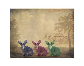 Weird Easter Art Mixed Media Collage Colorful Three Creepy Bunny Rabbits 8.5 x 11 Inch Surreal Wall Art Print