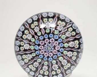 Signed Large Perthshire PP1 13 Spoke Art Glass Paperweight Perthshire Scotland Paperweight Perthshire PP1 Complex Millefiori Paperweight