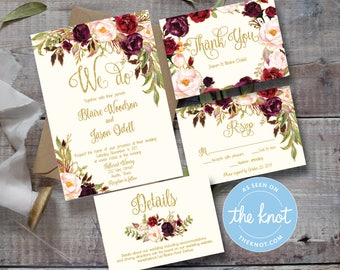 Marsala Printed Wedding Invitation - Floral Watercolor - Gold / Burgundy / Marsala / Wine / Blush Rustic Wedding - Printable Invitation