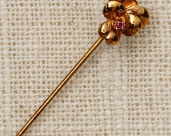 Pink Rhinestone Flower Stick Pin Gold Vintage Stickpin 7R