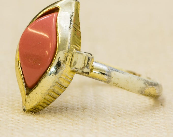 Coral Abstract Vintage Ring Gold Metal Painted Band Light Pink Peach Adjustable Size 7RI