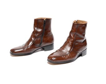 mens vintage boots 70s Nunn Bush Chelsea boots dark brown leather Beatle boots 1970 mod boots 9 men size 9
