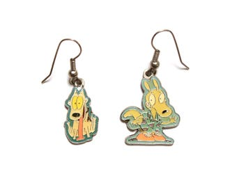vintage 90s Rocko's Modern Life earrings 1996 Nick Nickelodeon Spunky Rocko jewerly 1990 vintage cartoon enamel earrings