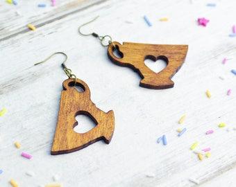 Wooden Tea Lover Earrings | Nickel Free Dangle Earrings | Laser Cut Statement Jewellery | Wood Tea Lover Gift