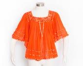 Vintage 1970s Blouse - Gauze Lace Pumpkin Orange ANGLE SLEEVE Boho Top - Medium