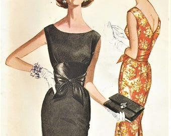 1960s Womens Cocktail Dress Midriff Detail Deep V Back and Wiggle Skirt McCalls Sewing Pattern 6044 Size 16 Bust 36 Vintage Sewing Patterns