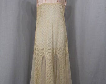 1920s Satin & Tambour Lace Lingerie Gown Vintage 1920s Clothing Gatsby Era Gown Small