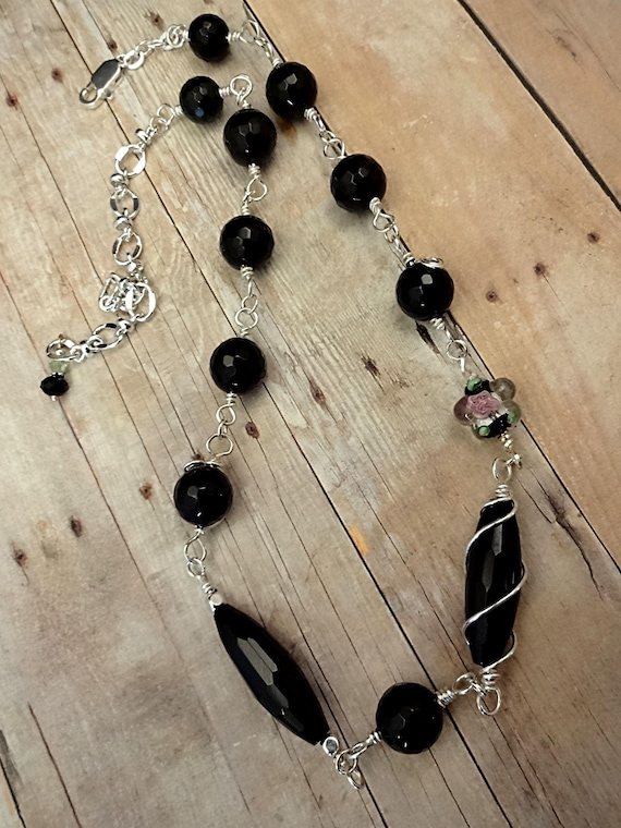 Wire Wrapped Black Onyx Necklace