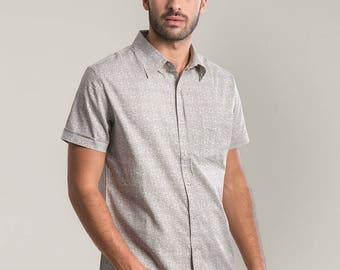 Unique Button Up Shirt For Men, Button Down Shirt, Arabesque Print, Short Sleeve Shirt, Mens Fashion, Unique Gift For Men