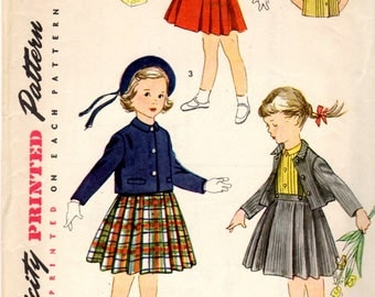 1950s Little Girl's Pleated Skirt  W/Suspenders, Sleeveless Blouse & Matching Jacket Simplicity 4236 Size 2 Vintage Child's Sewing Pattern