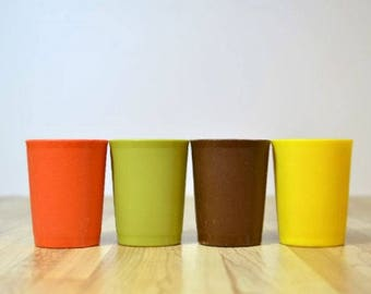 Vintage Tupperware Toys Cups / Salad Dressing Containers: Set of Four Stackable Harvest Colors of Orange, Yellow, Green and Brown