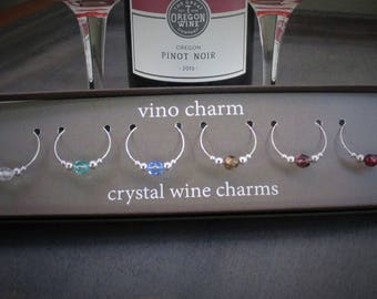 6 crystal wine charms | gift box | silver wine glass charms - wine markers - wine glass marker - drink marker - glass charms - markers SPC65