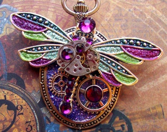 Steampunk Pin (P729) Dragon Fly Brooch, Hand Painted Sparkle Acrylic, Gears and Swarovski Crystals
