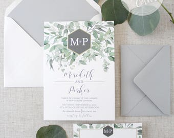 Modern Greenery Wedding Invitation Green Grey Watercolor Eucalyptus & Hexagon Monogram Modern Calligraphy Envelope Liner SAMPLE or DEPOSIT