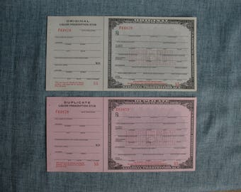Vintage Pharmacy Prohibition Whiskey Prescription Original & Duplicate Forms for Medical Alcohol Liquor Unused