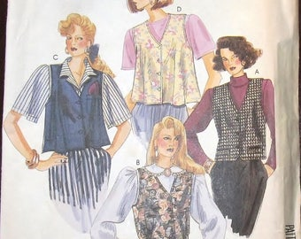 Vintage 1980s Sewing Pattern McCall's 0021 Button Down Vests Fitted and Flared Womens Misses Size 8 10 12 Bust 31 32 34 Uncut Factory Folds