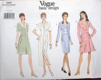 Easy Vintage Sewing Pattern Vogue Basic Design 1901 Button Down Dress Collar Skirt Options Women Miss Size 12 14 16 Bust 34 36 38 Uncut FF
