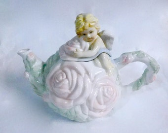 Avon Rose Cherub Collection - Porcelain Teapot