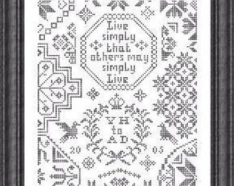 NEW TO SHOP Simple Little Quaker cross stitch pattern by Papillon Creations monochromatic Live Simply That Others May Simply Live friend
