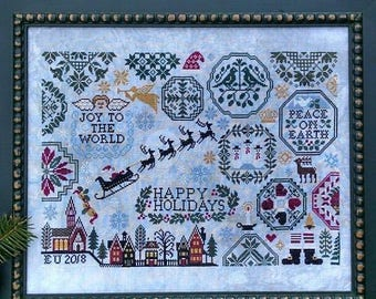 New! LILA'S STUDIO Holiday Quaker counted cross stitch patterns at thecottageneedle.com Christmas 2018 Nashville Market