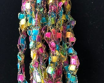 Bright Pastel Crochet Necklace w/Gold accents