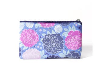 Floral Makeup Bag, Bright Peony Print, Original Floral Illustration, Slim Zipper Pouch, Bumblebee Ditzy Floral Pattern, Pretty Cosmetic Bag