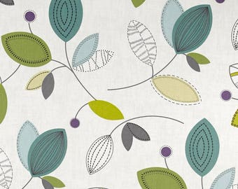 """CONTEMPO Leaves Print Valance or Panel Cotton Print 52 x 14"""" 18"""" 24' 32"""" Lined or Unlined"""