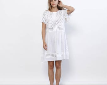 Big Summer Sale Summer Sale Eyelet Embroidery Panel Dress, White