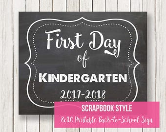 Back to School Sign | First Day of Kindergarten | Chalkboard Printable Sign | Instant Download | DIY | Printable