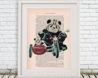 Panda Print, Original Panda Artwork, panda lover, Cute Christmas Idea, panda life, panda art, panda painting pandas on motobike