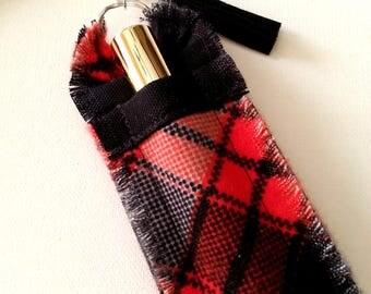 Red Plaid Lip Gloss Holder Keychain for Women, Stocking Stuffer, Small Gift, Gift for Sister, Mom, Lip Gloss Key Chain, Lip Gloss Cozy